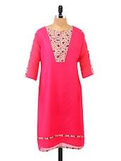Floral Yoke Panel Quarter Sleeve Pink Kurta - Fashion205