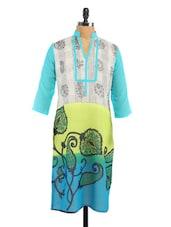 Multicolour Printed Georgette Long Kurti - Fashion205