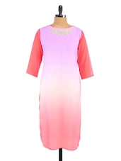 Pink Georgette  Hand Embroidered Long Kurti - Fashion205