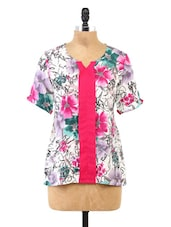 White Floral Printed Short Sleeve Top - Fashion205