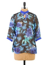 Floral Printed Turtle Neck Top - Fashion205