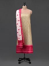 Beige Printed Cotton Unstitched Suit Set - DFOLKS