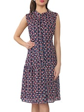 Navy Blue Printed Crepe Dress - From The Ramp