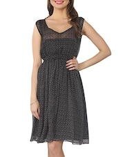 Black Printed V-neck Chiffon Dress - From The Ramp