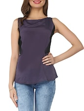 Purple Boat-neck Sleeveless Georgette Top - From The Ramp