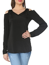 Black Cut-out Sleeves Crepe Top - From The Ramp