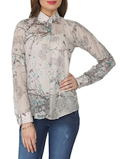Taupe Printed Cotton Blend Shirt - From The Ramp