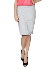 Grey Cotton Blend Pencil Skirt - From The Ramp