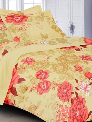 beige cotton floral print single bed sheet set