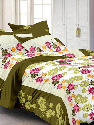 white and olive green cotton floral print single  bed sheet set