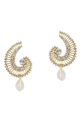 White And Golden Copper Drop Earring - By