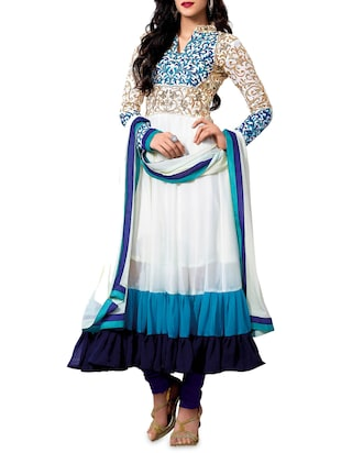 White and blue embroidered georgette anarkali semi-stitched suit set -  online shopping for Semi-Stitched Suits
