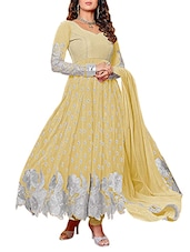 Embroidered Yellow Georgette Anarkali Suit Set - Whatshop