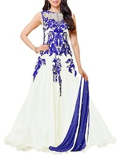 White Gown Style Embroidered Anarkali Suit Set - Whatshop