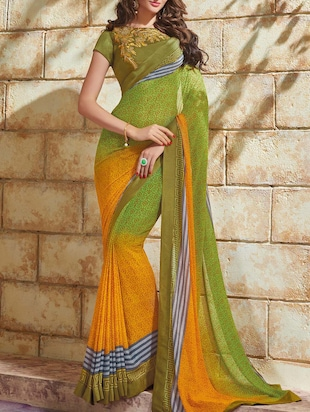 green and yellow printed georgette saree