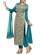 Blue Brasso Embroidered Velvet Semi Stitched Straight Suit Set - Fabfiza