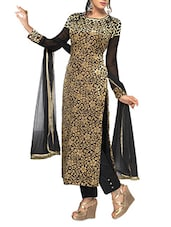 Black Brasso Embroidered Velvet Semi Stitched Straight Suit Set - Fabfiza