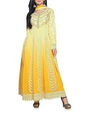 Yellow Embroidered Semi Stitched Anarkali Suit - Fabfiza