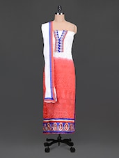 Red And White Embroidered Suit Set - ZANA'S