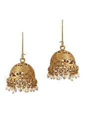 Gold Embellished Ethnic Jhumkas - The  Jewelbox