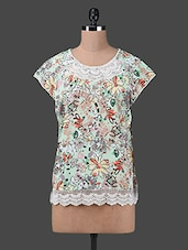 Arty Printed Lace Border Floral Top - Oxolloxo
