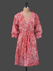 Red Abstract Printed Chiffon Beach Cover-up