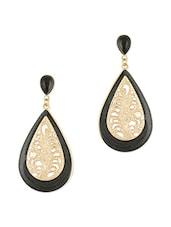 Cut Work Black Enameled Drop Earrings - By