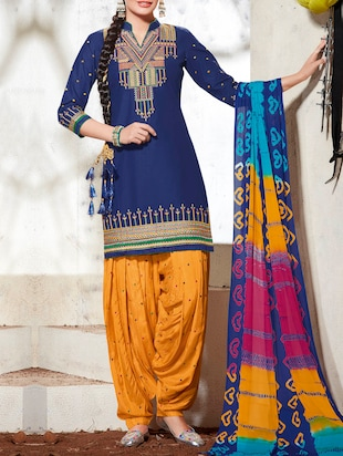 blue embroidered cotton unstitched dress material