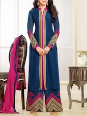 Blue Embroidered Straight Suit Set - Fabliva
