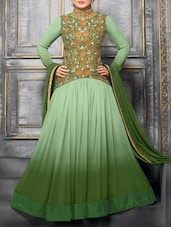 Green Embroidered Velvet And Net Salwar Suit Set - Fabliva
