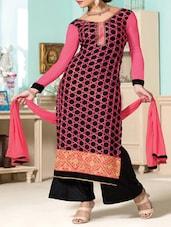 Pink Embroidered Georgette Suit Set - Fabliva