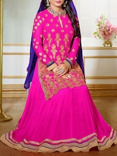 Pink Embroidered Georgette Anarkali Lehenga Suit Set - Fabliva