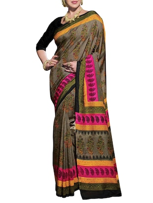 grey jute silk saree