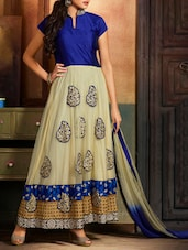 Blue Embroidered Net And Raw Silk Salwar Suit Set - Fabliva