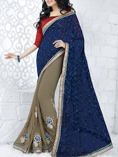 Blue Trimmed Lace Saree - Fabliva