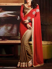 Red Trimmed Lace Embroidered Saree - By