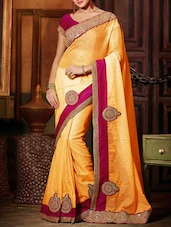 Yellow Trimmed Lace Embroidered Saree - By