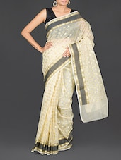 Polka Dot Pattern Brasso Work Art Silk Saree - By