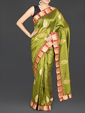Patch Border Embroidered Art Silk Saree - By