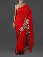 Red Pure Cotton Saree With Paisley Border - INDI WARDROBE