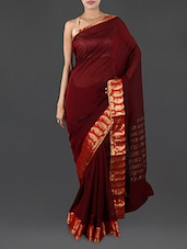 Maroon Pure Cotton Saree With Paisley Border - INDI WARDROBE