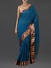 Blue Pure Cotton Saree With Paisley Border - INDI WARDROBE