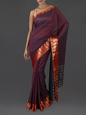 Purple Pure Cotton Saree With Paisley Border - INDI WARDROBE
