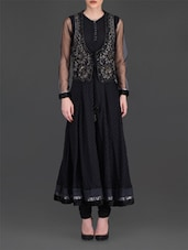 Black Embroidered Anarkali Suit Set - By