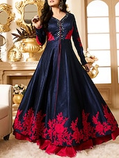 navy blue banglori silk unstiched suits unstitched suit -  online shopping for Unstitched Suits
