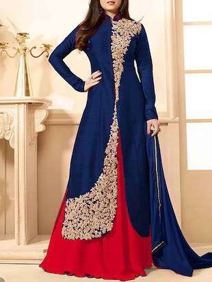 blue banglori silk unstitched suit -  online shopping for Unstitched Suits