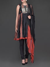 Embroidered Black Short Anarkali Suit - Ritu Kumar