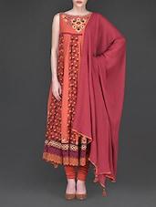 Floral Printed Rust Red Anarkali Suit Set - Ritu Kumar