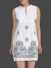 Off White Kurti With Floral Embroidery - Ritu Kumar