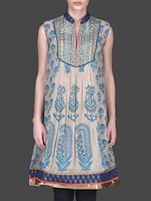 Printed Beige And Blue Anarkali Kurta - Ritu Kumar